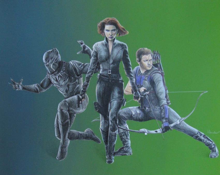 Scarlett Johansson, Jeremy Renner, Chadwick Boseman by lcsanders